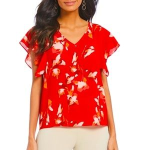 H HALSTON Red Floral Flounce sleeve Top NEW M